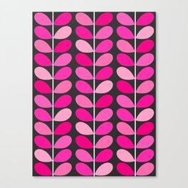 Mid Century Danish Leaves, Fuchsia Pink and Gray Canvas Print