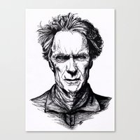 clint eastwood Canvas Prints featuring Clint Eastwood by Oriane Mlr