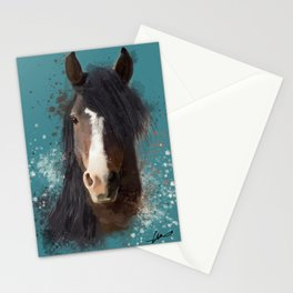 Black Brown Horse Artwork Stationery Cards