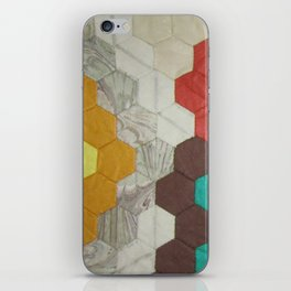 Detail of hand sewn chintz hexagon quilt by Jackie Wills iPhone Skin
