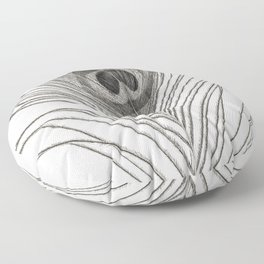 Black and White Peacock Feather Floor Pillow