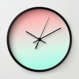 Ombre gradient digital illustration coral green colors Wall Clock