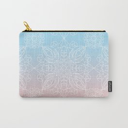 Pastel Dreams Mandala on Blue and Pink Linen Carry-All Pouch