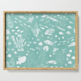 Watercolor Seascape in Light Green Serving Tray