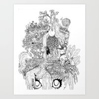 oasis Art Prints featuring Oasis by KadetKat