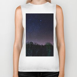 Star Night Sky Purple Hes With Forest Silhouette Biker Tank