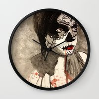 sugar skull Wall Clocks featuring sugar skull  by Joedunnz