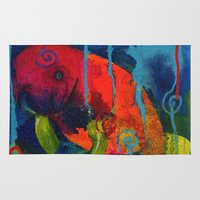 manatee Area & Throw Rugs featuring Young Manatee by Silke Powers