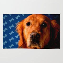 Golden Retriever blue bone background Rug