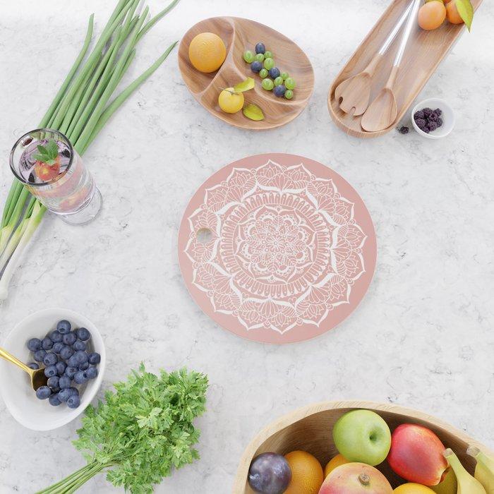 White Flower Mandala on Rose Gold Cutting Board