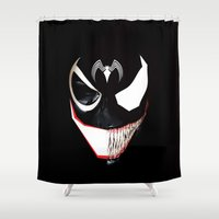 venom Shower Curtains featuring Venom The Evil by Febrian89