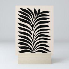 Minimal Fern 3. Black on beige #foliage Mini Art Print