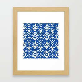 Blue Ikat Damask Print Framed Art Print