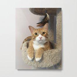 Orange cat oil finish Metal Print