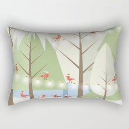 Holiday Winter Scene with Red Bird Santas and Glowing Lights in a Christmas Tree Forest Rectangular Pillow