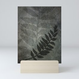 Pantone Pewter Gray Abstract Grunge with Fern Leaf - Foliage Silhouettes Mini Art Print