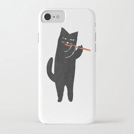 Black cat with flute iPhone Case