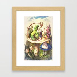 Alice & The Hookah Smoking Caterpillar - Alice In Wonderland Framed Art Print