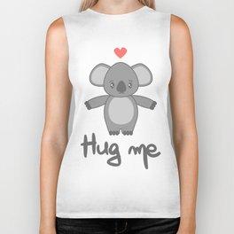 cute hand drawn lettering hug me with cartoon lovely koala bear Biker Tank