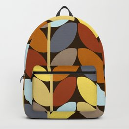 Retro 70s Color Palette Leaf Pattern Backpack