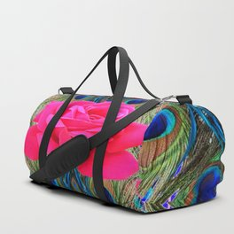 FUCHSIA PINK ROSE & BLUE PEACOCK FEATHERS ART ABSTRACT Duffle Bag