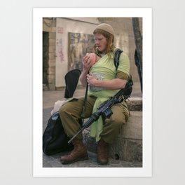 A Soldier & His Baby Art Print