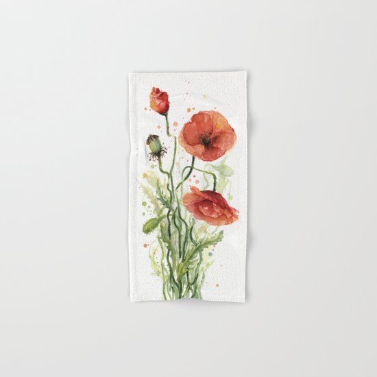 Red Poppies Watercolor Flower Floral Art Hand & Bath Towel