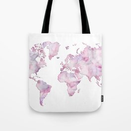 Lavander and pink watercolor world map Tote Bag