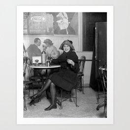 Flapper with Hidden Booze Cane - Prohibition - 1922 Art Print