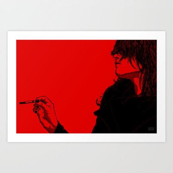 Smoking (Black on Red Variant) Art Print