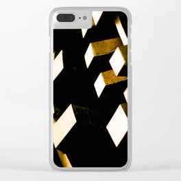 Rose Gold Bronze Abstract Geometric Mechanical Gears Clear iPhone Case