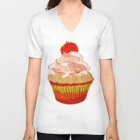 cupcakes V-neck T-shirts featuring Cupcakes by Alexandra Baker