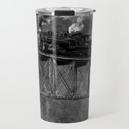 Steam Engine on a trestle river black and white photograph / art photography  Travel Mug