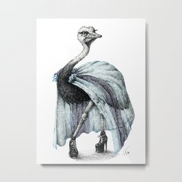 Portrait of Lady Ostrich Metal Print