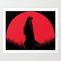 inuyasha Art Prints featuring Red Moon Inuyasha by Timeless-Id