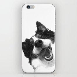 Black and White Happy Dog iPhone Skin