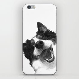 Black and White Happy Dog iPhone Skin