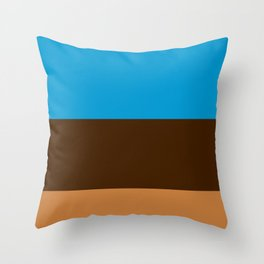Tri-Color [Blue, Chocolate, Tan] Throw Pillow