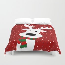 Reindeer in a snowy day (red) Duvet Cover