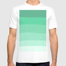 GREEN MEDIUM White Mens Fitted Tee