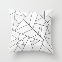 Throw Pillows featuring White Stone / Black Lines by Elisabeth Fredriksson