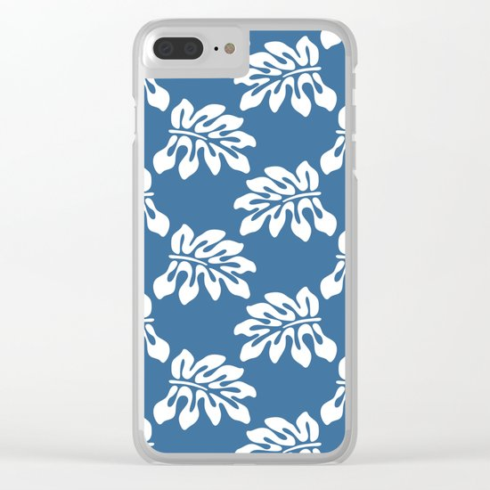 Blue White Tropical Leaf Pattern Clear iPhone Case