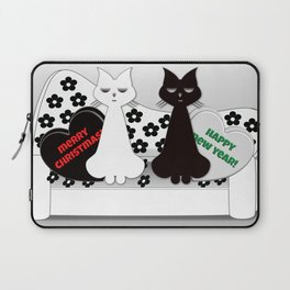 Black and White Cats on Sofa Christmas Laptop Sleeve