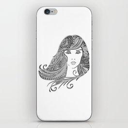 zentangle portrait 4 iPhone Skin