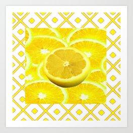 Yellow Grapefruit Pattern Art Art Print