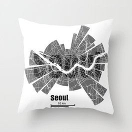Seoul Map Throw Pillow