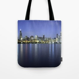 Chicago Skyline Dusk Panorama Tote Bag