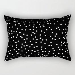 White Dots on Black Rectangular Pillow