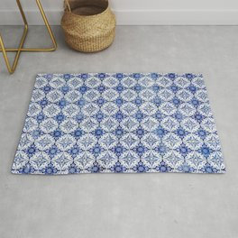 Weathered Traditional Blue Tiles Rug