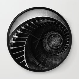 The Spiral Staircase black and white photograph / black and white photography Wall Clock